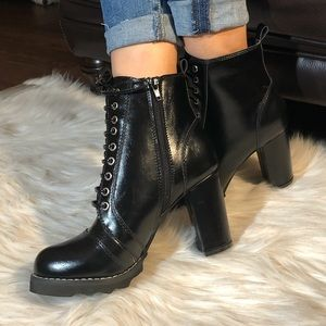 Shoes - BLACK FAUX LEATHER BOOTS